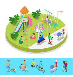 isometric city park composition with playground vector image vector image