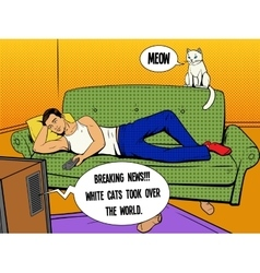 Man lying on couch watching TV comic book style vector image