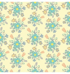 Seamless colorful background with spring flowers vector image