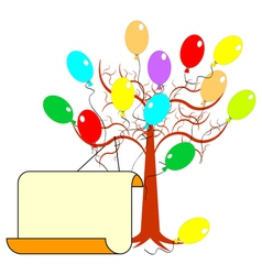 A tree with many colorful balloons vector image