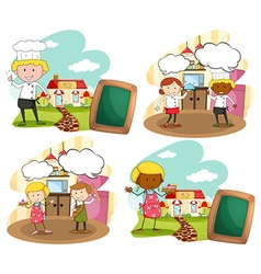 Chef and bakers at the workplace vector image vector image