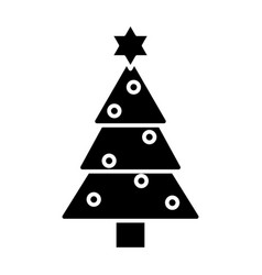 christmas tree icon black vector image