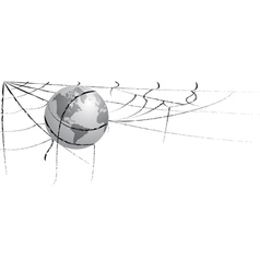 earth entangled in spiderweb vector image