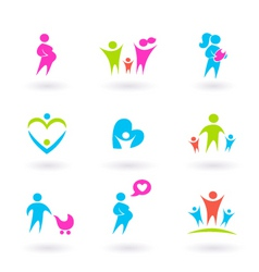 family and pregnancy icons vector image vector image