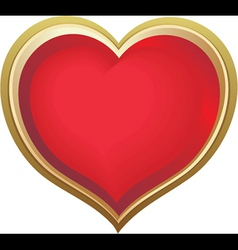 Golden love heart vector image