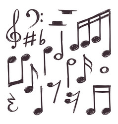 hand drawn music note musical symbols vector image