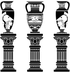 hellenic jugs with columns second variant stencil vector image