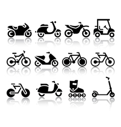 Motorcycles and bicycles set of black icons vector image vector image