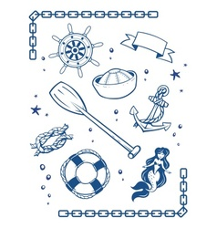 Sea and nautical symbols vector image