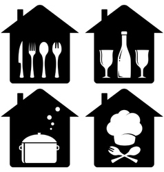 set home icon with kithen utencil vector image vector image