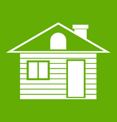 wooden log house icon green vector image