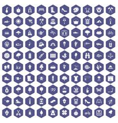 100 spring icons hexagon purple vector