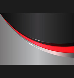 abstract red line curve on black gray design vector image