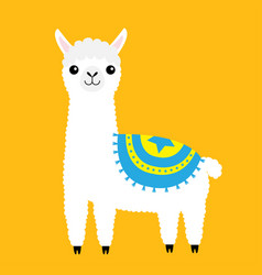 alpaca llama animal cute cartoon funny kawaii vector image