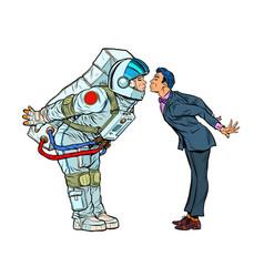 Astronaut woman or man prepared for a kiss vector