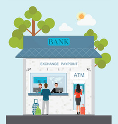 Bank counter currency exchange service and atm vector