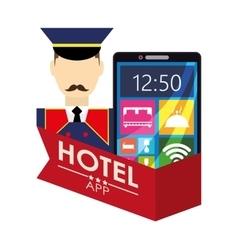 Bellboy smartphone and hotel digital apps design vector