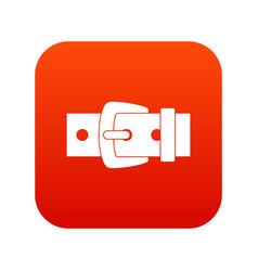Black metal belt buckle icon digital red vector