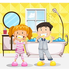 Boy and girl brushing teeth in the bathroom vector image