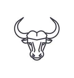 buffalo head line icon sign vector image