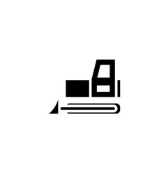 bulldozer icon solid vehicle and transportation vector image