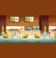 Cafe mall food court interior cartoon vector