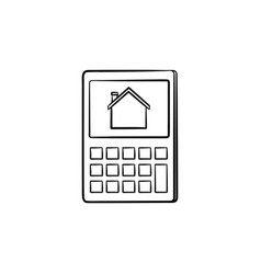 Calculator with house symbol hand drawn outline vector