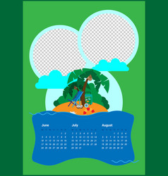calendar for three months for the summer season vector image