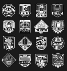 Car spare part and maintenance icons vector