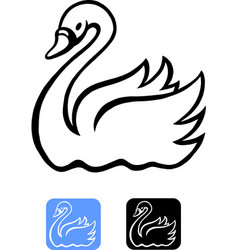 Cartoon of an swan in balck and icon design vector