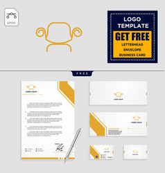 chairs interior logo template and stationery vector image