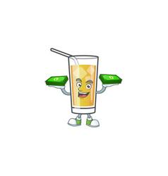 Character holding money in apple cider cartoon vector