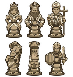 Chess pieces set white vector