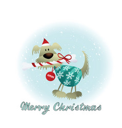 christmas card with dog vector image