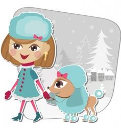 christmas walk with a dog vector image