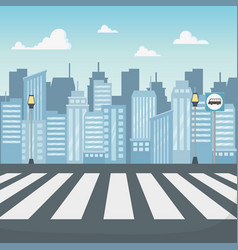 cityscape scene with crosswalk road vector image