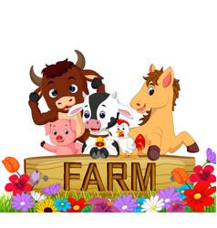 Collection farm animals in the garden vector