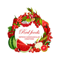 Color diet red food vegetables fruits and berries vector