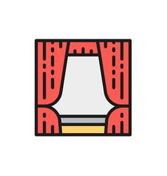 curtains drapes decoration flat color line icon vector image