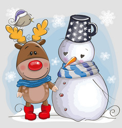 Cute christmas deer and snowman vector