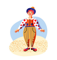 cute funny clown in colorful costume on stage vector image