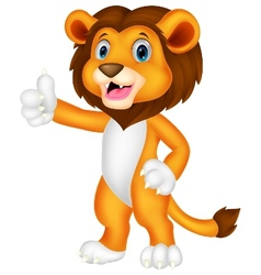 Cute lion cartoon giving thumb up vector image
