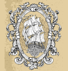 decorated victorian frame with compass and ship vector image