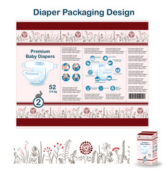 Diaper packaging design elements in doodle forest vector
