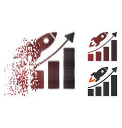 Dispersed pixel halftone startup rocket growth vector