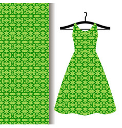 dress fabric with green arabic pattern vector image