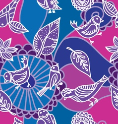 flower and bird pattern vector image