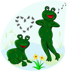 Funny and carefree frogs vector