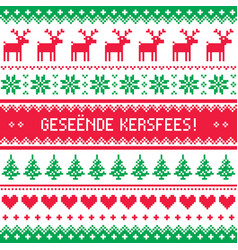 geseende kersfees - merry christmas in afrikaans vector image