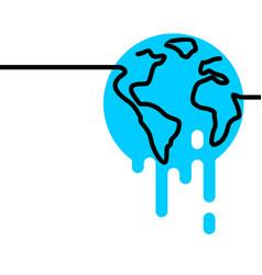 Global warming melting earth globe world one line vector